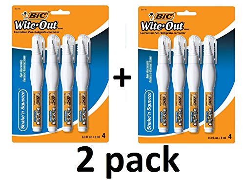 (Wite-Out Shake 'n Squeeze Correction Pen, 8 ml, White, Total 8 pcs (WOSQPP418))