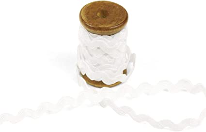 3 Yards of POLLY 5mm Rigid Ric-Rac Trim on a Wooden Spool White