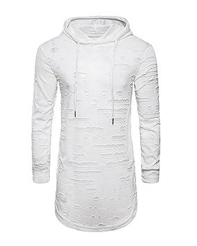 Sudadera Largo Con Capucha Para Hombre Hip-Hop Pulóver Color Puro Manga Larga Tamaño Grande Sweatshirt Blanco M o09P0d