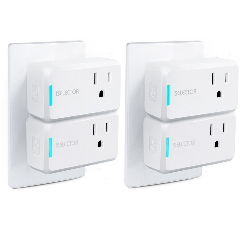 ISELECTOR Mini Smart Plug Wi-Fi 4-Pack Timing Use No-Hub, Compatible with Alexa and Google Assistant
