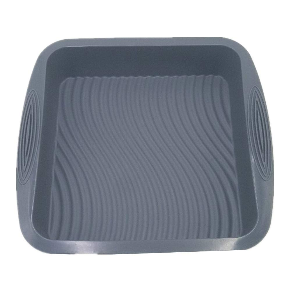 Square Silicone Cake Pan, Beautiful Wavy Line Design | Non-Stick Approx. 8-Inch Baking Pan | Durable, Convenient, Salad Pan with Handle Grips, Meat Baking Tools for Bakeware by KeepingcooX KuXun 5R-LYRE-COLO