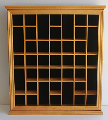 41 Shot Glass Display Case Holder Cabinet Wall Rack with Glass Door (Oak Finish)