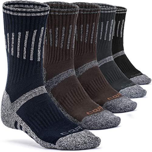 CQR Men's Tactical Hiking Military Boot Trail Trek Outdoor Socks, Cotton 5pairs(tzs70) - Brown2/black1/grey1/navy1, L [Men 8.5-12_Women 9.5-13] from CQR