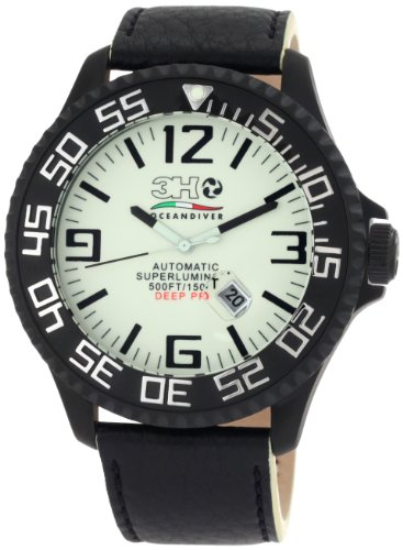 - 3H Men's DPB4N 52MM Black PVD Automatic White Dial Black Markers Interchangeable Band Watch