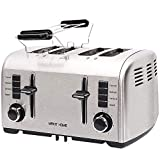 Toasters 4 Slice Best Rated Prime, Retro Small Toaster with Bagel, Cancel, Defrost Function, Reheat, Extra Wide Slot Compact Stainless Steel Bread Toasters for Bread Waffles Small Retro Toaster Oven