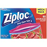 Ziploc Storage Bags, quart, 80 ct