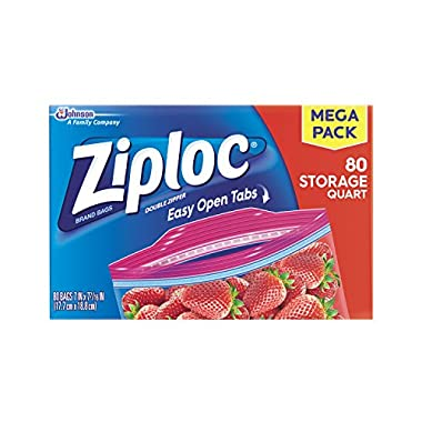 Ziploc Storage Quart Bags, 80.0 Count