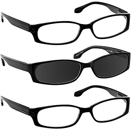 Reading Glasses 1.25 2 Black 1 Black Sun (3 Pack) F503 - Sunglasses Online Reading