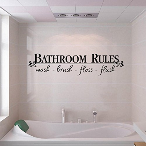 Tuscom Hot Removable Bathroom Rules Words Wall Stickers Decal Home Decor Vinyl Art Mural (23X5.1 Inch/Bathroom Rules)