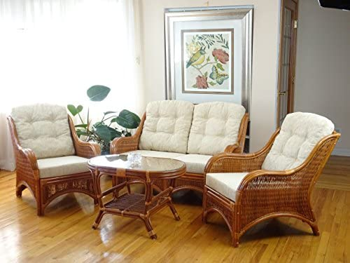 Jam Rattan Wicker Living Room Set 4 Pieces 2 Lounge Chair Loveseat/Sofa Coffee Table Colonial Light Brown . Cream Cushions.