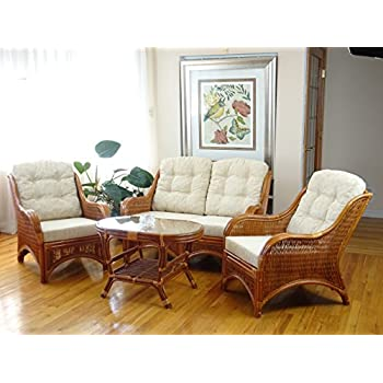 Jam Rattan Wicker Living Room Set 4 Pieces 2 Lounge Chair Loveseat/sofa  Coffee Table Colonial (Light Brown). Cream Cushions.