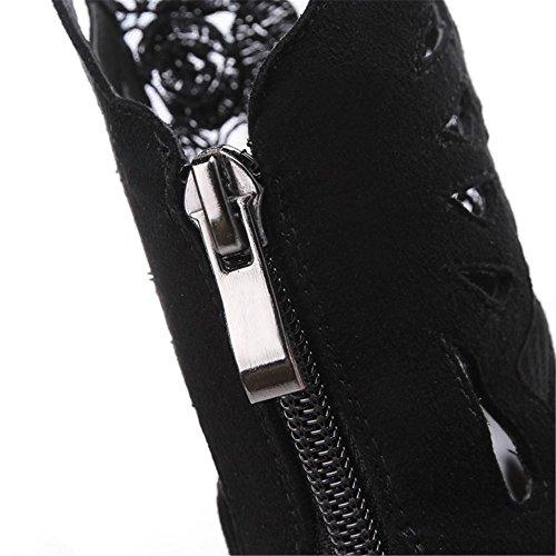 Black Appuntito 36 Donna 5 Eur 3 Del eur37uk455 Nero Stiletto uk Tacco 4 Dito Scarpe Discoteca Sandali Elegante Alto Nvxie Stivali Piede Macchia Maglia xB4Twxq