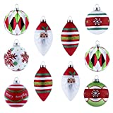 V&M VALERY MADELYN 10ct Glass Christmas Balls Ornaments Red Green Silver and White, 3.15inch-4.72inch/8CM-12CM Christmas Hanging Ornaments with String Pre-Tied (Classic Collection Splendor)