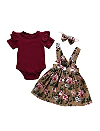 Jugendhj Babysuit 🇨🇦🇨🇦3Pcs Baby Toddler Girls Kids Overalls Skirt +Headband+Romper Clothes Outfits