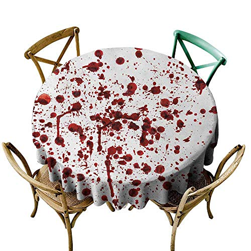 Horror Restaurant Tablecloth Splashes of Blood Grunge Style Bloodstain Horror Scary Zombie Halloween Themed Print Picnic Red White (Round - 51