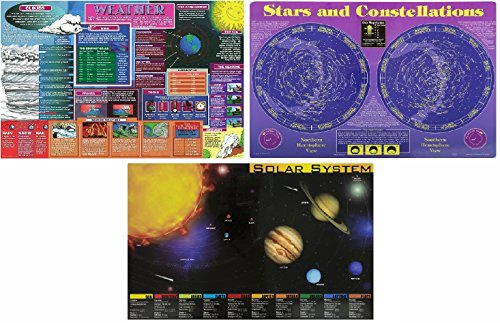 Painless Learning Placemats for Kids, Set of 3: Solar System, Weather, Stars and (Shoppe Table)