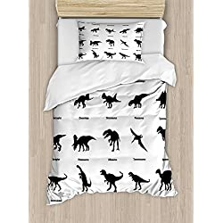 Ambesonne Dinosaur Duvet Cover Set Twin Size, Collection of Different Dinosaurs Silhouettes with Their Names Evolution Wildlife, Decorative 2 Piece Bedding Set with 1 Pillow Sham, Black White