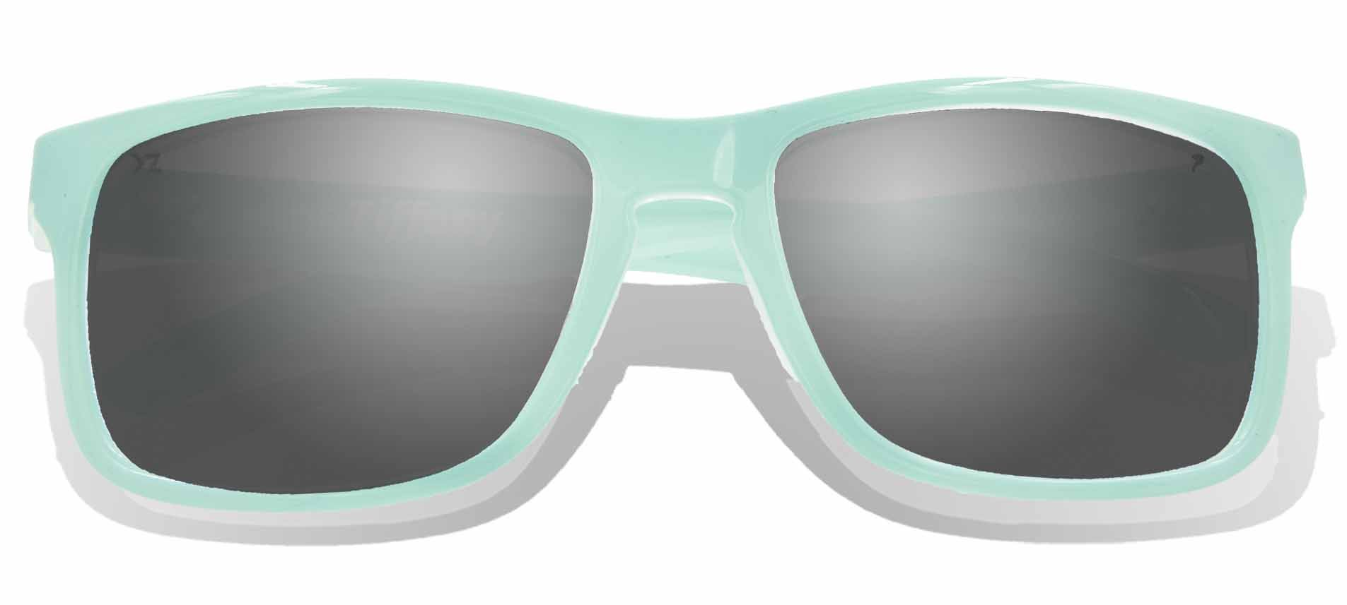 Floating Sunglasses - Polarized Floatable Wayfarer Shades by KZ Gear - 100% UV400 Lenses - Shades that Float - Modern Floatable Style (Glossy Light Blue Frame - Gradient Grey Lens)