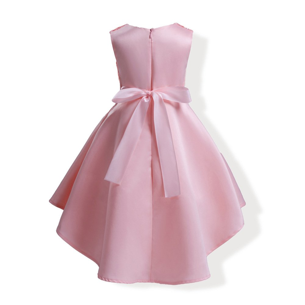 Mrsrui Little Girl Dress Kids Ruffles Lace Party Wedding Dresses Birthday Gift (100#, Red) by Mrsrui (Image #3)