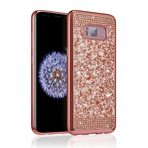 ZCDAYE Samsung Galaxy S7 Case,Bling Glitter [Crystal Rhinestone Diamond] Soft TPU Rubber Silicone [Electroplating Edge] Shockproof Protective Back Case for Samsung Galaxy S7 - Rose Gold