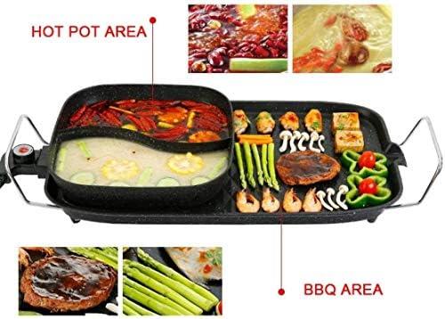 Smokeless électrodomestiques à frire bâton non Barbecue Machine A Amovible Hot Pot intégré 2000W électrique Teppanyaki BBQ Grill Plaque de cuisson multi Cooke