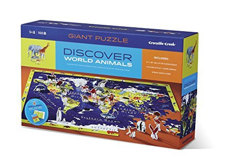 Crocodile Creek Discover World Animals Learn + Play 100 piece Jigsaw Floor Puzzle and 21 Figures, 36 by Crocodile Creek