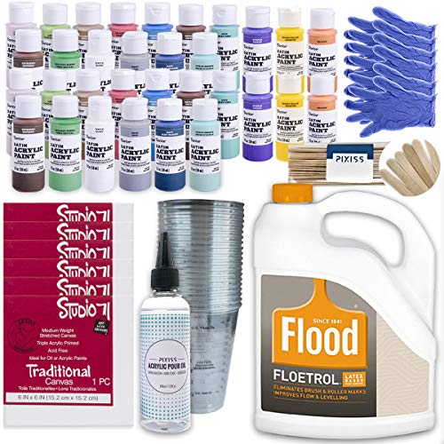 Ultimate Acrylic Paint Pouring Bundle - 1 Gallon Floetrol, 50x Cups, 32x 2-Ounce Acrylic Paints, 6X 6-inch Canvases, Pixiss Acrylic Pouring Oil, Mixing Sticks, Gloves, Complete Kit for Paint Pouring -  PPG, Studio 71, Pixiss, BDL-10116