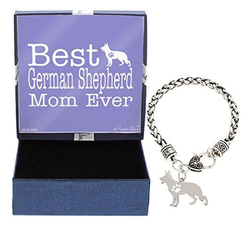 Mother's Day Gifts Best German Shepherd Mom Ever German Shepherd Bracelet Gift Silhouette Charm Bracelet Silver-Tone Bracelet Gift for German Shepherd Owner Jewelry Box