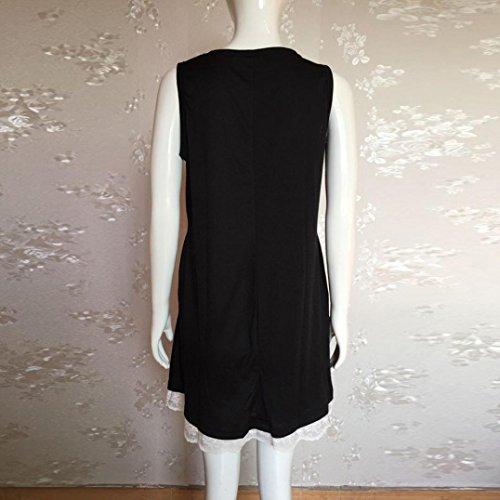 34a293767a Sinma Summer Beach Dress for Women Sleeveless Plain Pleated Loose Swing  Lace Sundress (S,