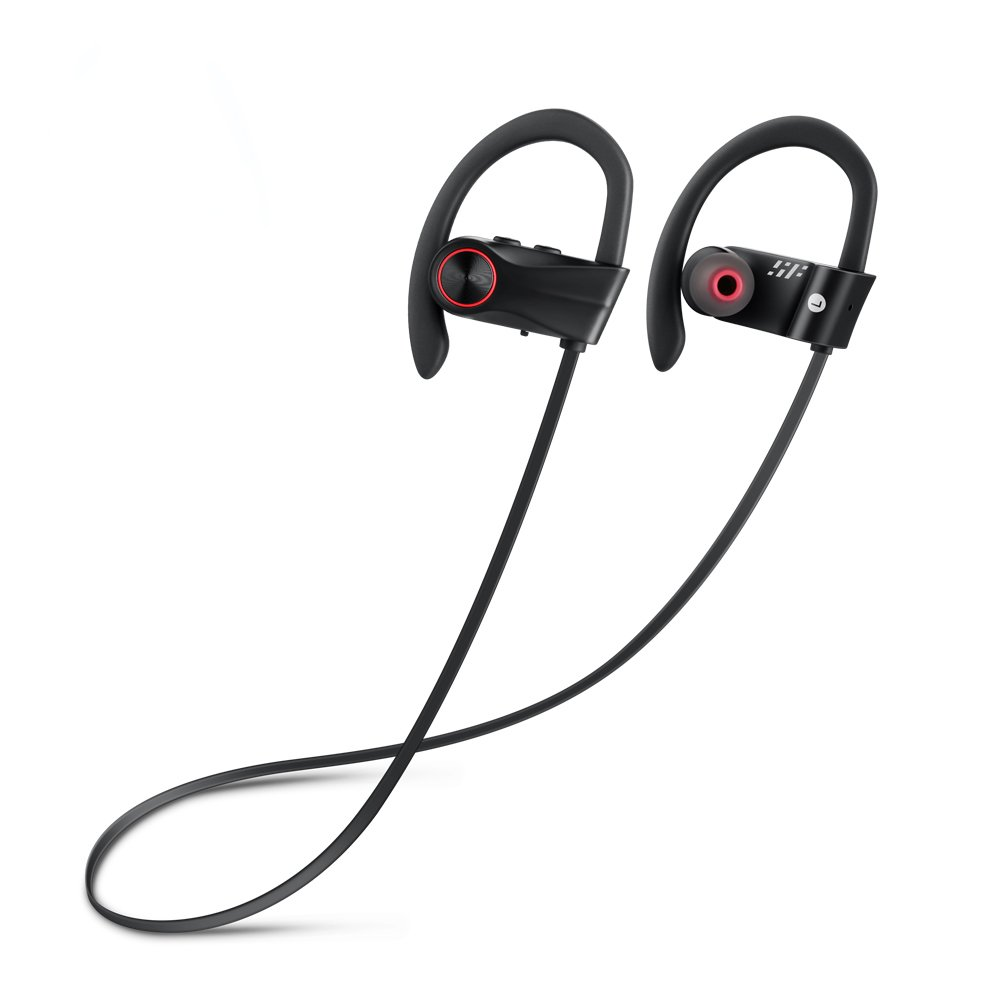 Siroflo Bluetooth Sports Earphones BH01 Wireless Sports Earphones with Mic, IP67 Grade Waterproof Dustproof Protection, Connect to Siri (Black)