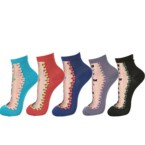 Women Transparent Ankle High Socks (One Size, butterfly&Flower - 5Pair) ()