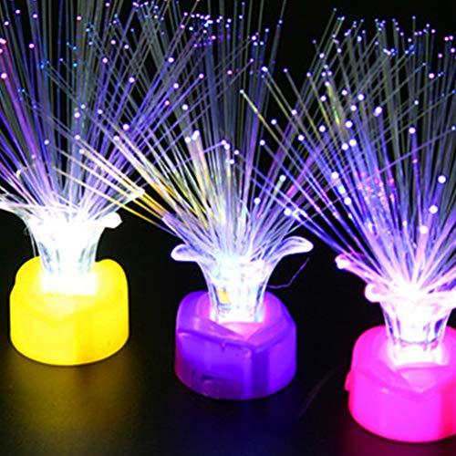 Mobestech 10pcs luz de fibra optica multicolor tpu fibra brillante centro de mesa luz de la noche luz de los ninos para dormitorio boda vacaciones