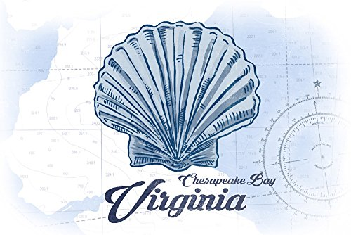 Chesapeake Bay, Virginia - Scallop Shell - Blue - Coastal Icon (12x18 SIGNED Print Master Art Print w/Certificate of Authenticity - Wall Decor Travel Poster)
