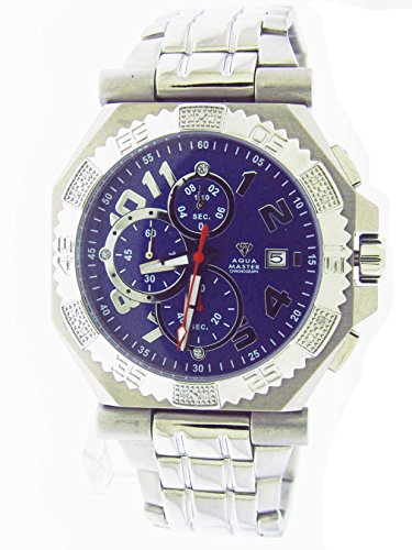 Aqua Master Mens Swiss Made Diamond Watch 0.12ctw by Aqua Master