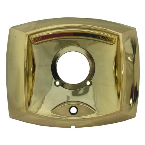 ta Rectangle Shaped Shower Escutcheon Only for Shower Valve with Hole for Push Button Diverter, Polished Brass (Scald Guard Valve)