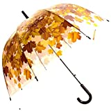 Kung Fu Smith 46'' See Through Brown Leaves Umbrella, Bubble Clear Plastic Umbrella for Kids Boys - 8 Windproof Fiberglass Ribs