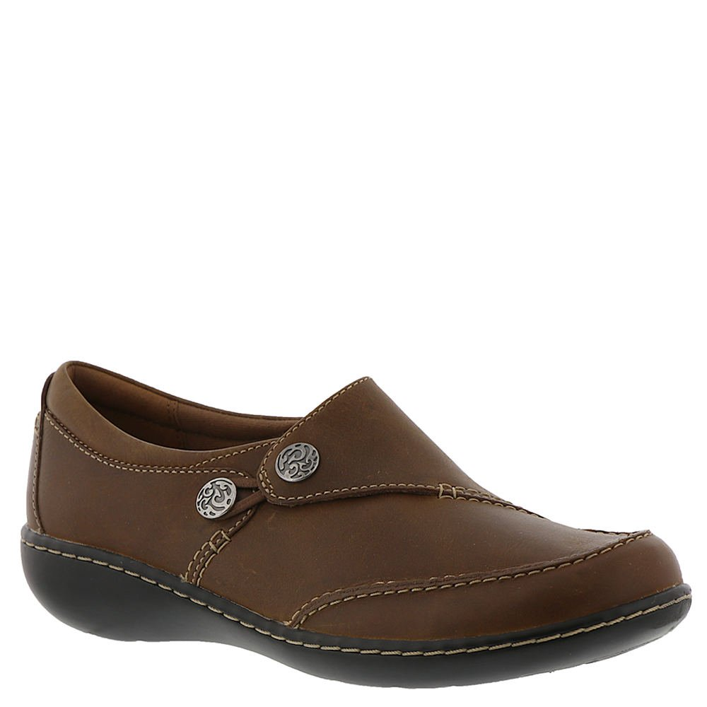 CLARKS Women's Ashland Lane Q Loafer, Dark Tan Leather, 070 W US