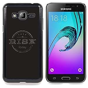 """Qstar Arte & diseño plástico duro Fundas Cover Cubre Hard Case Cover para Samsung Galaxy J3(2016) J320F J320P J320M J320Y (Gestión de Riesgos Negro Gris sello"""")"""