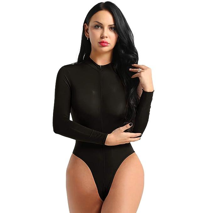 c2fd41add9 YiZYiF Women s Sheer Spandex Long Sleeve Lingerie Bodysuit Slim Zipper  Leotard Top Black One Size