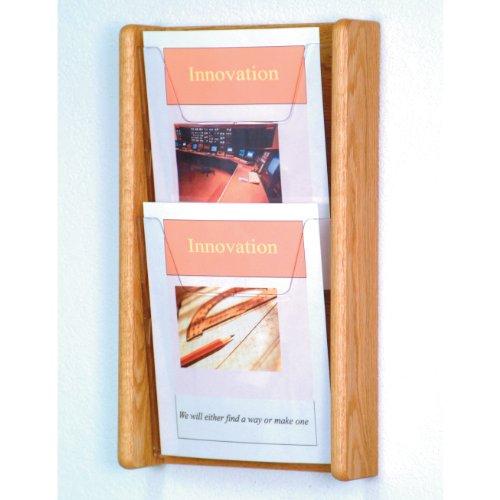 - DMD Magazine Rack, Literature Wall Display, 2 Pocket Solid Oak and Acrylic, Light Oak Wood Finish