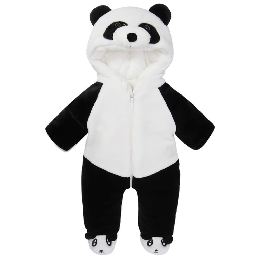 G-Kids Baby Winter Fleece Overall Jumpsuit Neugeborenes Mä dchen Junge Niedlich Panda Strampler Schneeanzug Outfits Spielanzug mit Kapuze