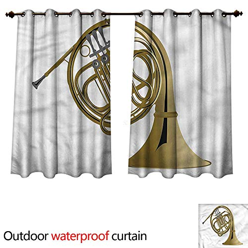 (cobeDecor Music 0utdoor Curtains for Patio Waterproof French Horn Brass Orchestra W84 x L72(214cm x 183cm))