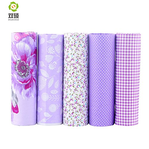 Purple Series Cotton Fabric Floral Patchwork Fabric Fat Quarter Bundles Fabric For DIY Crafts Baby Dress Doll Dress 40X50cm 5 Pieces (As Picture Shown)