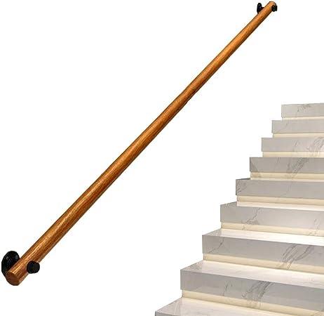 IMBM-Pasamanos Barandilla Redonda de Pino montada en la Pared para escaleras, Kit de Soporte de riel de barandilla de Escalera,Agarre cómodo y fácil: Amazon.es: Hogar