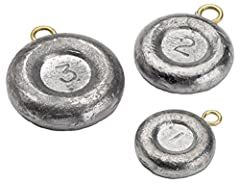 Bullet Weights Disc Sinker is great for all types of fishing, in both fresh and saltwater. This round, flat sinker won't roll across the ocean floor. One pound of disc sinkers, packaged in a poly bag. Sizes Available: 1, 2, 3, or 4 Ounce. Qua...