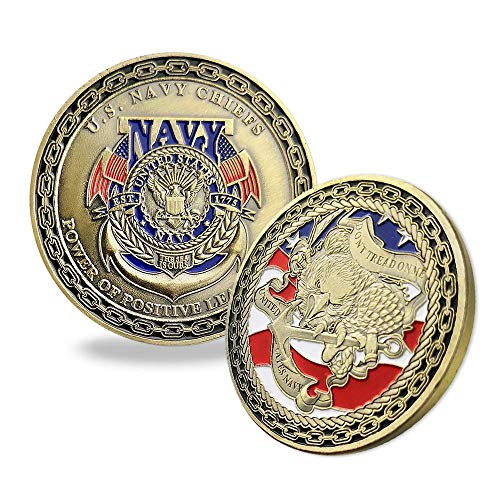 US Navy Chief Military Challenge Coin Power of Positive Leadership Don't Tread Me ()