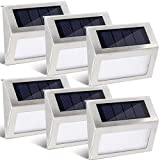 GIGALUMI 6 Pack Solar Step Deck Lights, Stainless Steel Waterproof Led Solar Lamp for Outdoor, Pathway Yard Stairs Fences. (White) Review