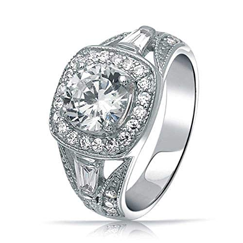 - Sterling Silver 2ct CZ Antique Style Bridal Engagement Ring
