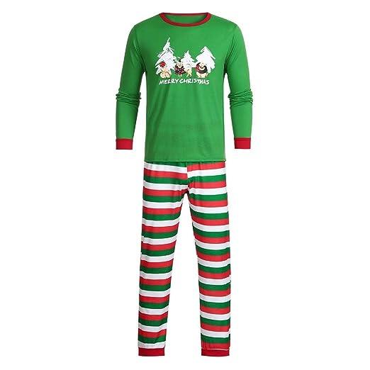 d6a7f46536 FEDULK Clearance Sale Matching Family Pajamas Christmas Tree Print Striped  Holiday Kids Sleepwear Sets(Green1
