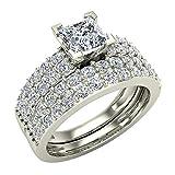 1.60 ct tw Twin Micropavé Diamond Rows Princess Cut Wedding Ring Set with Matching Band 14K Gold (J,I1)
